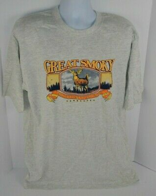 Great Smoky Mountains Tennessee Men's T-Shirt Deer in Frame Gray Heather XL