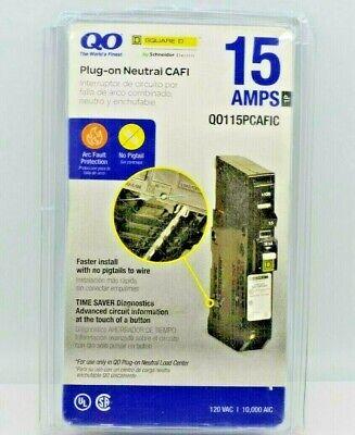Square D Qo 15 Amp Single Pole Plug-on Arc Fault Qo115pcafic. New Open Box