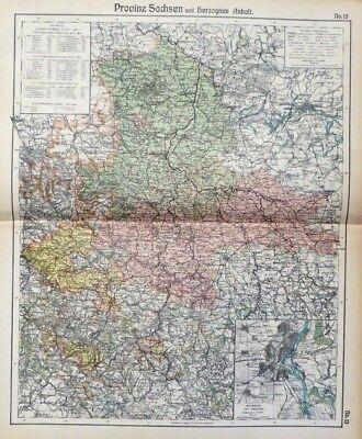 Landkarte Provinz Sachsen und Herzogtum Anhalt, Magdeburg, Otto Herkt um 1908