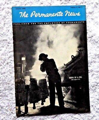 Vintage Publication Kaiser Permanente News Foundary Metals Cement Cartoons 1945
