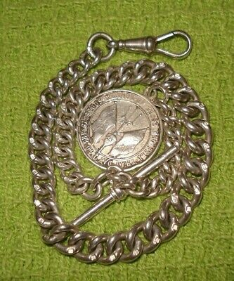 ANTIQUE SOLID SILVER ALBERT WATCH CHAIN *E PAIRPOINT* 1916 GERMAN FOB 36.3gr