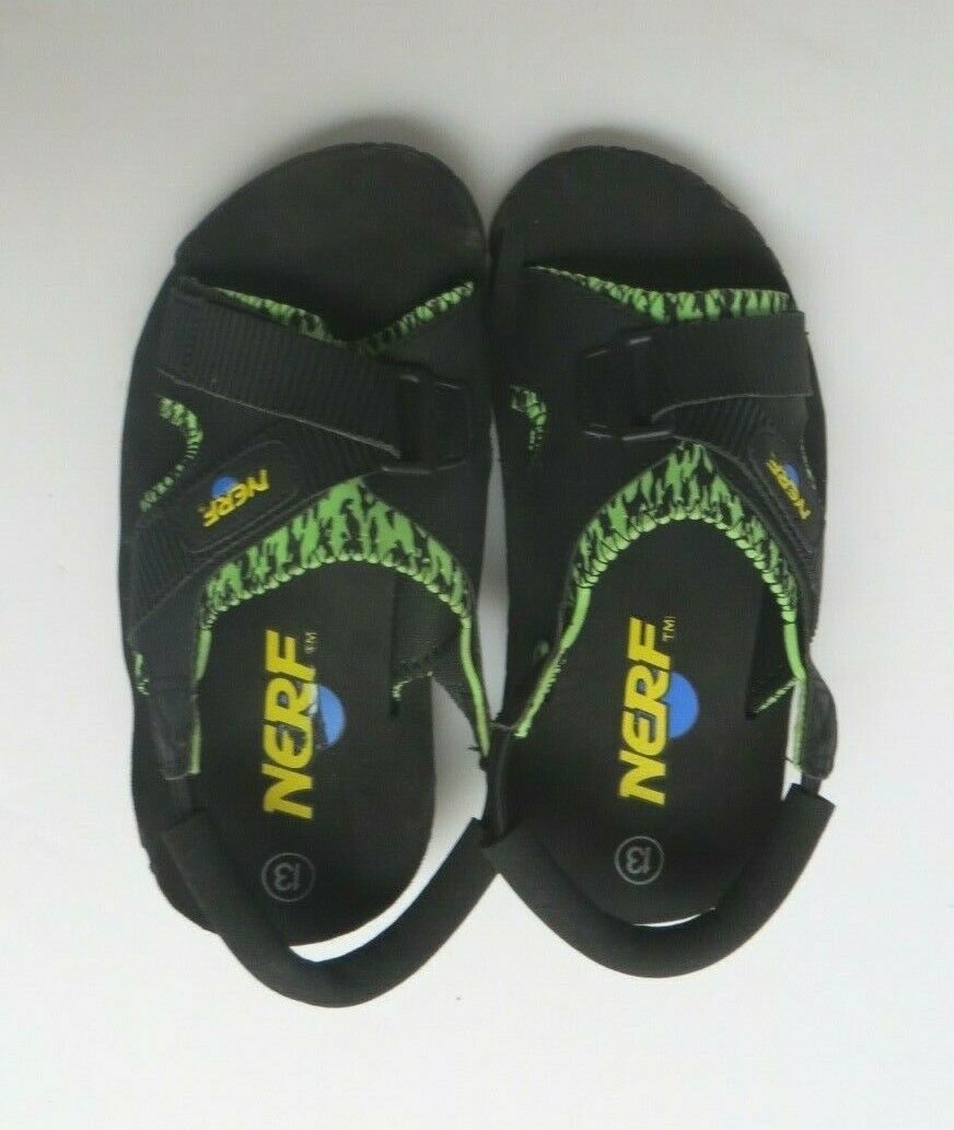 Nerf Sandals Boys Youth Size 13 Black Green Neoprene Slide S