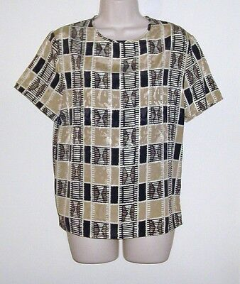 """Point & Line Brown & Black Pull Over Blouse  Bust 38""""  Length 25"""""""