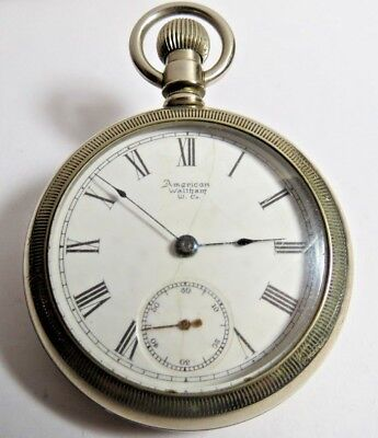 ANTIQUE WALTHAM POCKET WATCH 18'S STEM SET 11 JEWELS SILVER TONE RUN