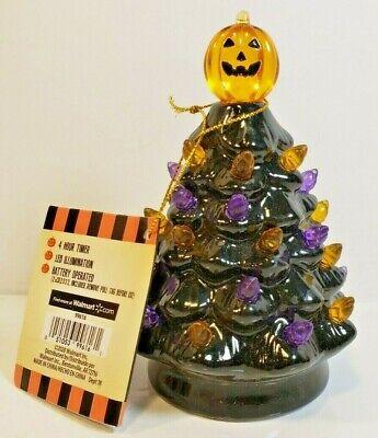 """Mr Halloween Ceramic Tree Pumpkin Vintage LED Lighted 5"""" ORANGE/PURPLE A2"""