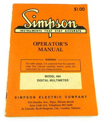 Simpson 464 Operators Manual Only For Digital Multimeter Model 464