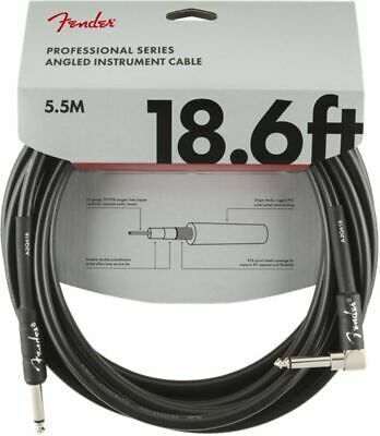 Fender Professional Instrument Cable, Angled-Straight, 5.7m (18.6ft) Black