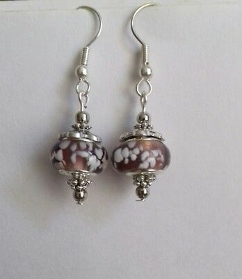 Pinkish white lampwork earrings dangle wedding gift bridesmaid prom formal boho