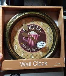 New Coffee Its a Hug in a Mug Wall Clock 9 Coffee Cup Home Kitchen Decor
