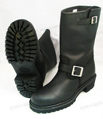 Mens Leather Motorcycle Engineer Boots (Men's Engineer Boots Motorcycle Biker Full Grain Black Leather Riding Sizes NIB)