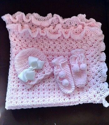 BEAUTIFUL HAND CROCHET BABY BLANKET SET YOU PICK COLOR, HELP A CANCER SURVIVOR!