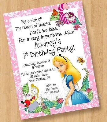10 - Alice in Wonderland Birthday Bridal Party Invitations &envelopes Shipped - Alice In Wonderland Party Invitations