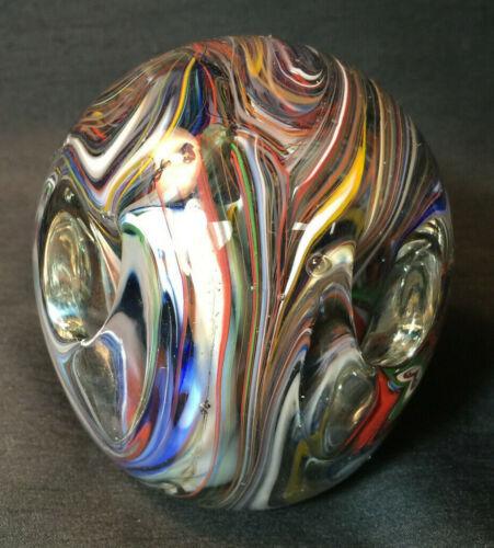 RARE SIGNED JOHN GENTILE STUDIO * DESK ART GLASS PAPERWEIGHT PEN HOLDER