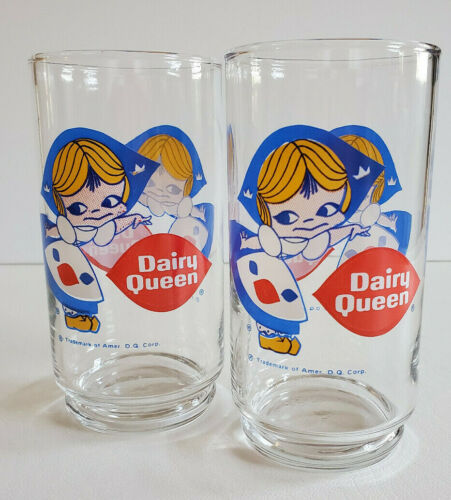 PAIR (2) VTG DAIRY QUEEN GLASSES TUMBLER COOLERS Little Dutch Maid Girl