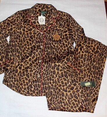 New LAUREN RALPH LAUREN Women's Leopard 2 Pc Garment Set Young Royals Size L