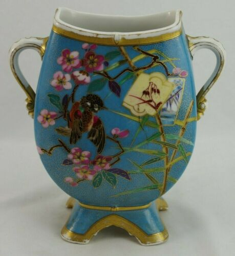Antique Japonesque Imari Painted Two Handled Vases Aesthetic Impressed RC C18