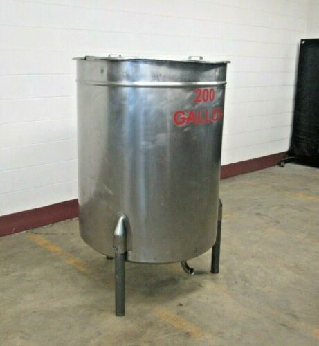 """200gal Stainless Steel Single Wall Tank, 37""""Dia X 48""""Straight Side"""