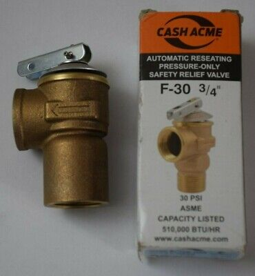 Pressure Safety Relief Valve F-30 34 Automatic Reseating New In Tattered Box.