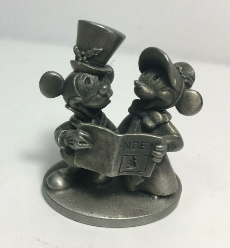 1980s Schmid Walt Disney World Land Fine Pewter MICKEY & MINNIE Carolers 0195