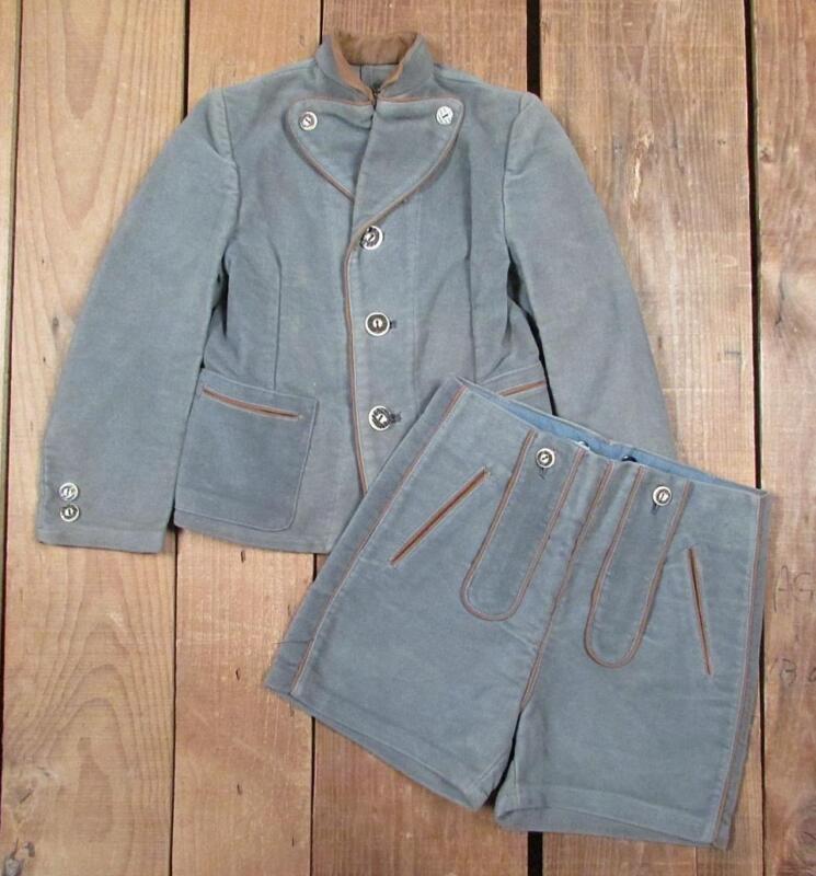 Vintage Boys German Lederhosen Outfit Trachten Jacket w/ Shorts Soft Cotton/Wool