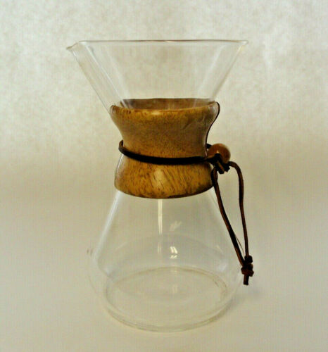 """Vintage MCM Used CHEMEX Like  9 1/4""""  Pour Over Glass Coffeemaker - Wood Collar"""