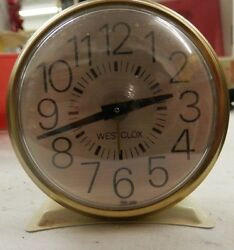 Vintage Westclox wind up alarm clock small metal base white gold works