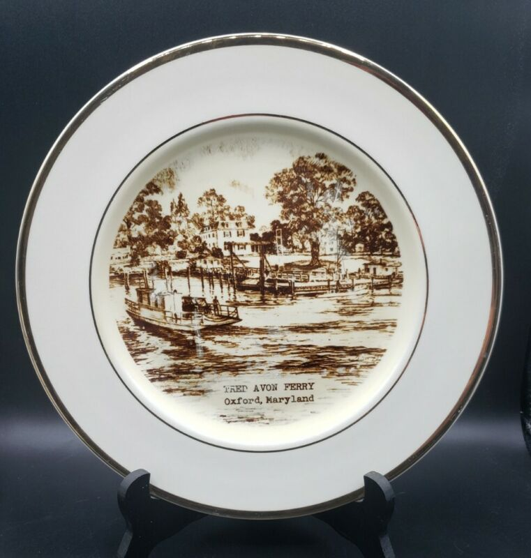 """Ferry Tred Avon Collector Plate 10.5"""" Oxford, Maryland by Preston Hopkinson Co"""