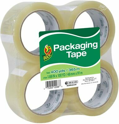 Duck Brand Start Packaging Tape 1.88 Inches X 100 Yards Clear 4 Pack 240593