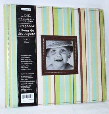 Scrapbook Album 12 x 12 Colorbok Postbound Stitched Fabric Stripe Acid Free New 12x12 Fabric Scrapbook Album
