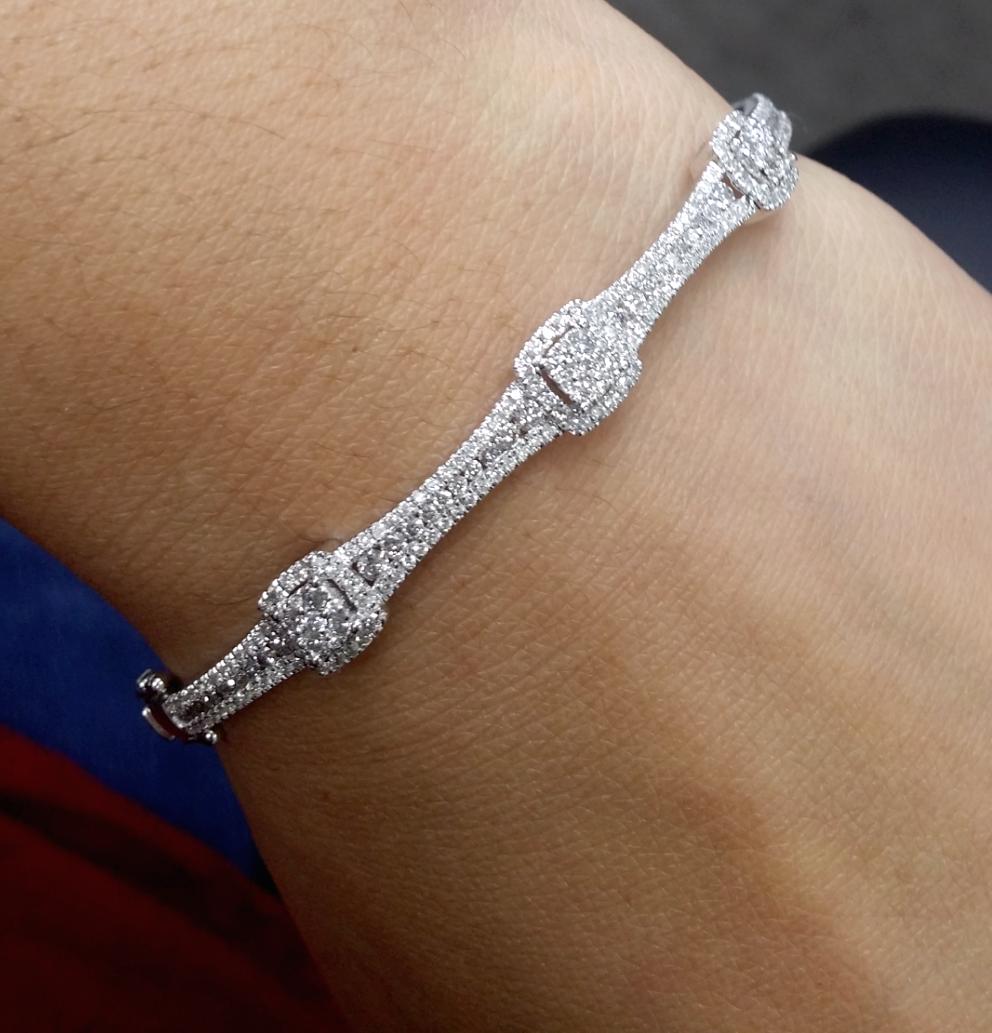 STEAL DEAL! 1.50CT 100% Natural Diamond Tennis Bangle Bracelet  14K White Gold