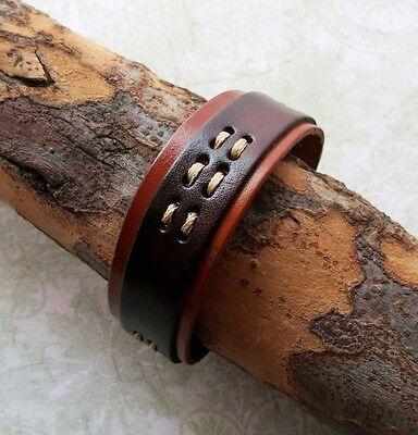 (Vintage style Urban Genuine Brown & Orange Leather Band Bracelet )
