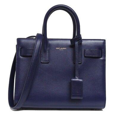 New $2750 Saint Laurent Blue Sac De Jour Leather Nano Messenger Bag