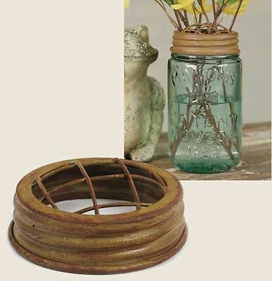 Classic Vintage Flower Frog Lid Fits Mason's Or Ball Mason Jars Antique Mustard