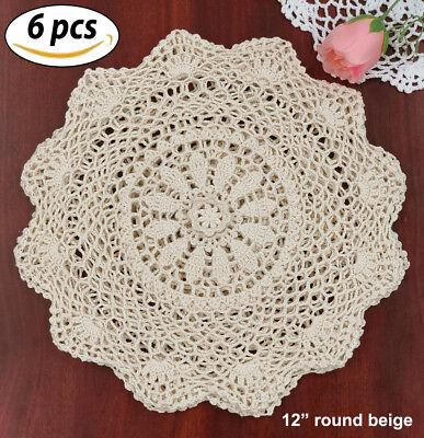 """Creative Linens 6PCS 12"""" Round Beige Cotton Crochet Lace Doily FREE S&H"""