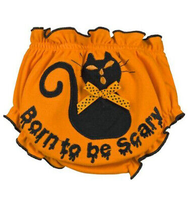 Ganz Halloween Baby Girl Orange Bloomers Diaper Cover - Born to Be Scary EH11597