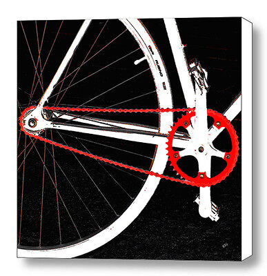Bike In Black White And Red No 2, Large Abstract Fine Art Canvas Print, Wall