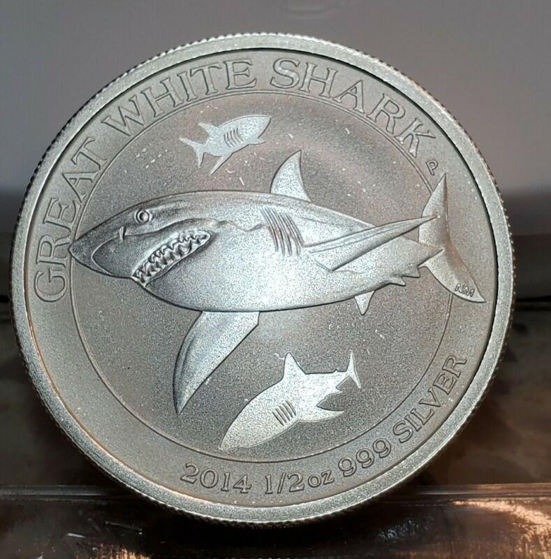 2014 Australia 50 Cent Great White Shark 1/2 Half Ounce .999 Silver Coin 50c