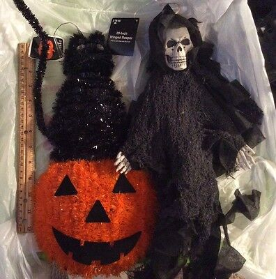 2x Hanging Props Halloween Cat on Pumpkin & Reaper About 20 inches each See - Pumpkins Halloween Pics