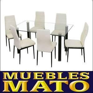Set conjunto mesa cristal y 6 sillas blancas emi cocina for Sillas salon blancas