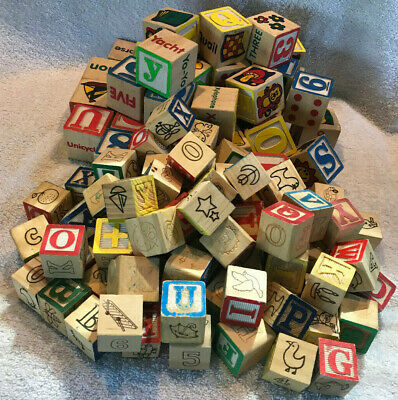 Wood Toy ABC Blocks Alphabet Numbers Building 2 Sizes Large Lot - Nice & Clean