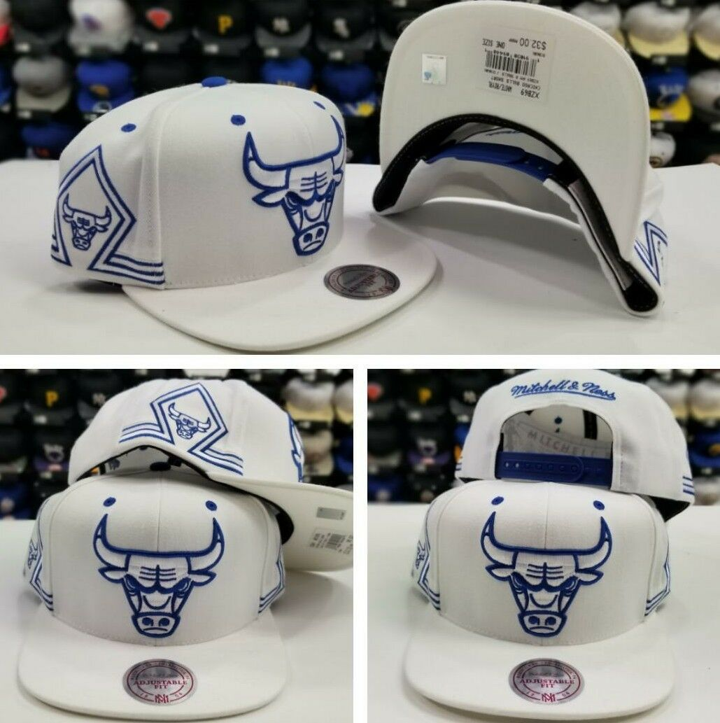 Mitchell   Ness NBA Chicago Bulls WHITE   ROYAL Blue snapback Adjustable Hat  Cap 1f2b11e9f35