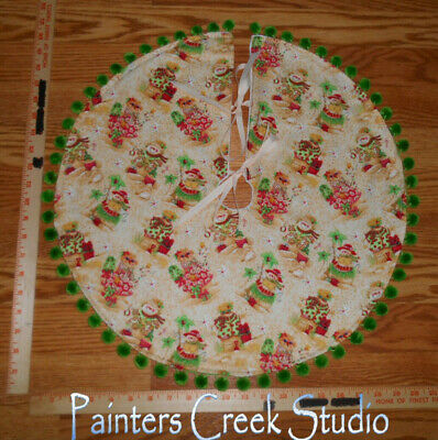 "BEACH SNOWMAN, Christmas at the Beach,Tropical Handmade Mini Tree Skirt,20"" dia"
