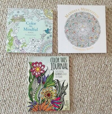 Lot Of 3 New Color Me Mindful Birds, Mandala, Journal Adult Coloring Books BNew