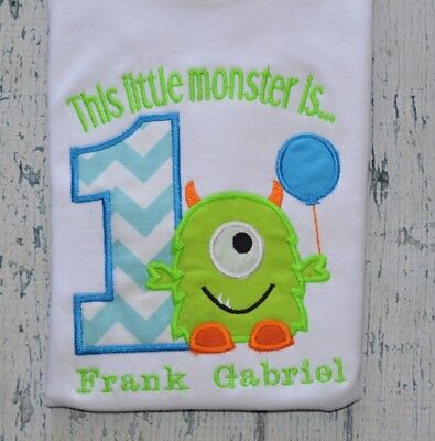 PERSONALIZED Monster 1st Birthday Shirt Boys Birthday Tee Monogrammed First Bday
