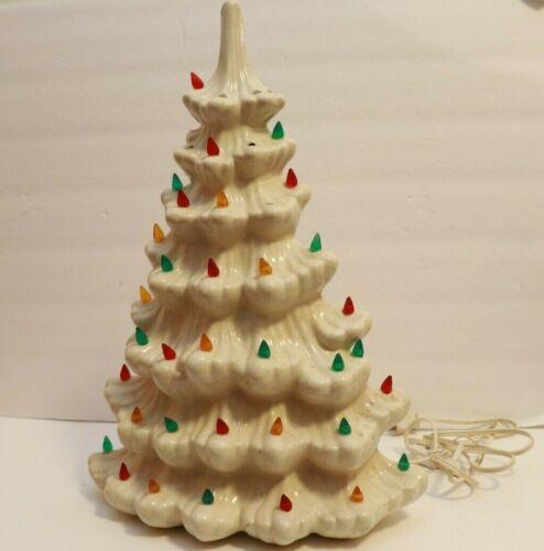 """VTG White Ceramic Lighted Christmas Tree 16"""""""