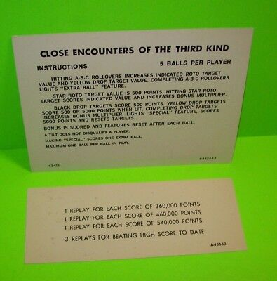 CLOSE ENCOUNTERS Of The Third Kind PINBALL MACHINE Instruction Card GOTTLIEB