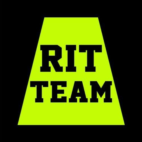 Reflective Fluorescent Yellow RIT TEAM Helmet Tetrahedron Tet Trapezoid