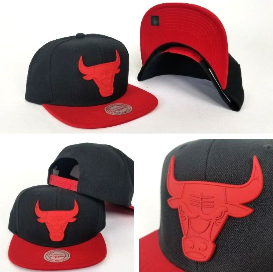 aa9e8944cf5 Details about Mitchell   NBA Ness Black   Red Metal Badge Logo Chicago  Bulls snapback Hat Cap