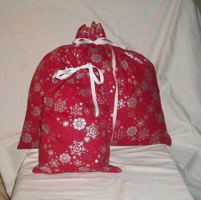 Silver Gift Bag (Christmas Silver Snow Flakes on Red Design Homemade Fabric Gift Bag)