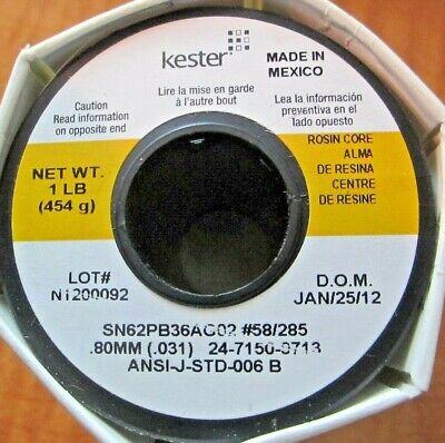 Kester Silver Solder 24-7150-9713 58-285 Sn62pb36ag2 .031